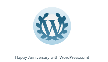 Happy Anniversary with WordPress.com with award image.