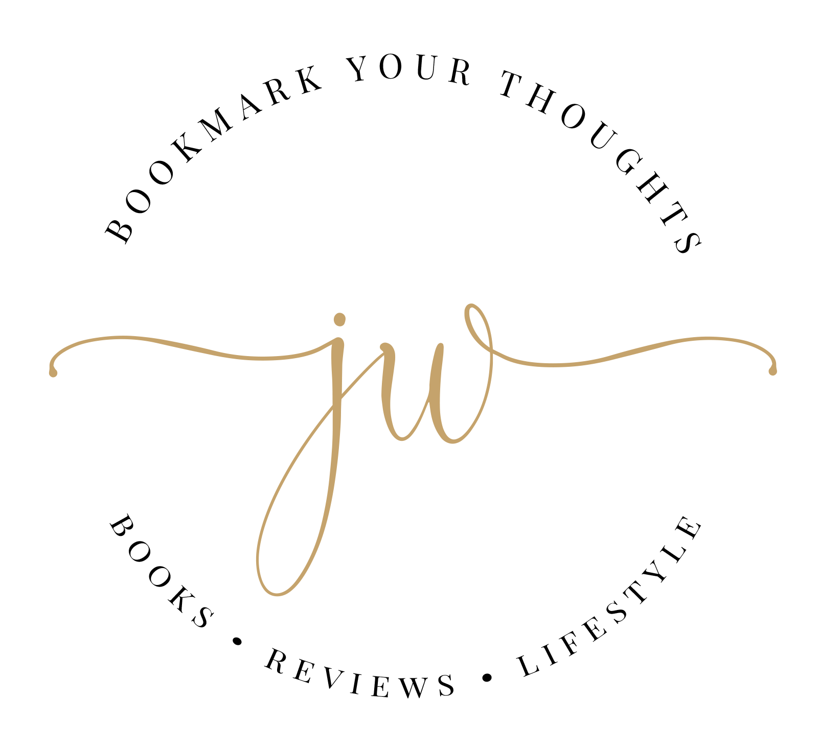 Signature. Bookmark Your Thoughts. Books, Reviews, Lifestyle. Initials in the middle (JW).
