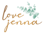 "Signature that says ""love jenna"" in gold. A group of green pastel leaves are in the upper right hand corner."